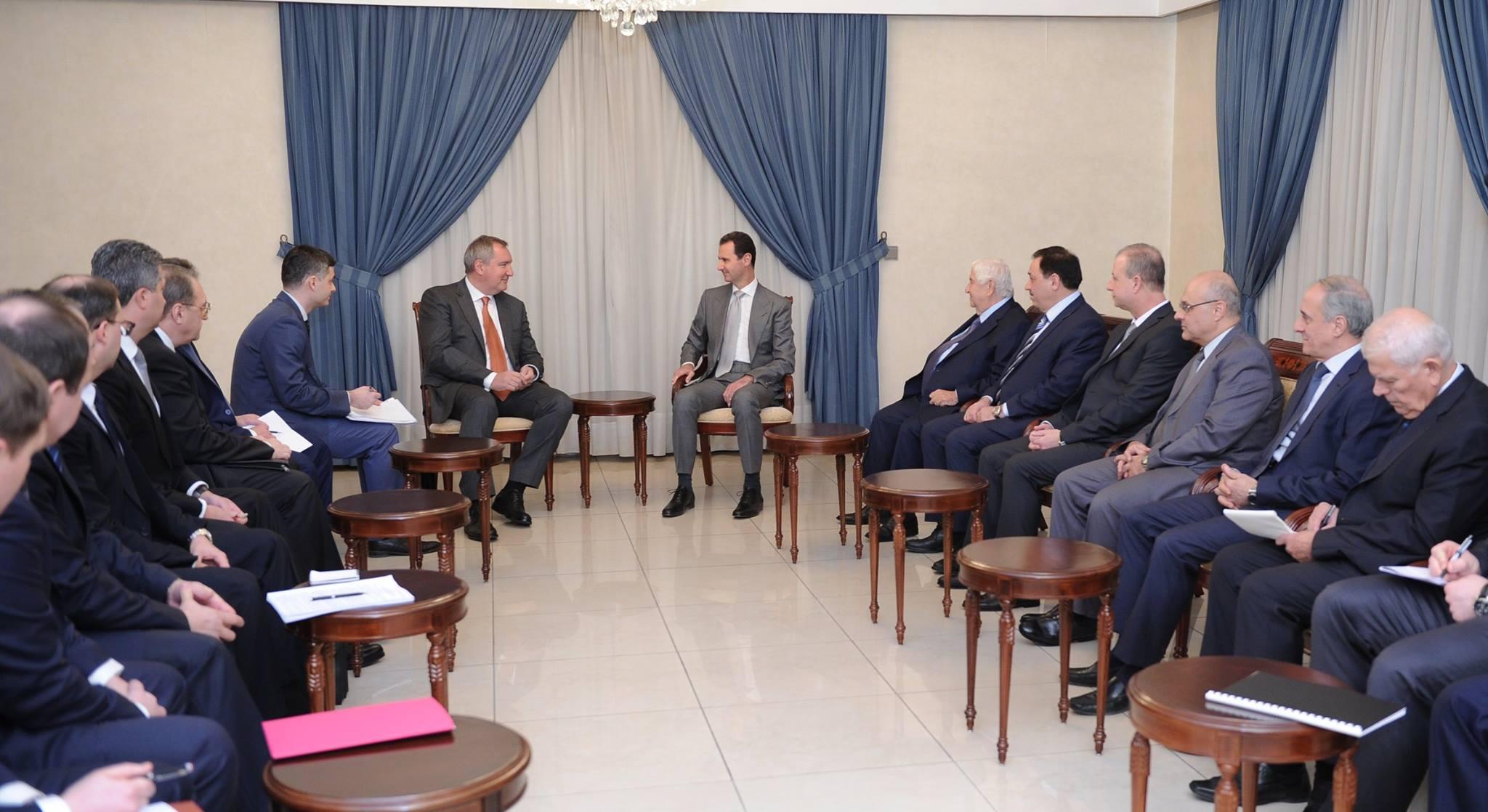 الرئيس الأسد يستقبل وفداً حكومياً روسياً برئاسة نائب رئيس الوزراء الروسي