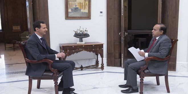 """الرئيس الأسد لقناة """"ويون تي في"""" الهندية: الوضع في سورية يشهد تحسنا كبيرا والمجموعات الإرهابية في حالة تراجع"""