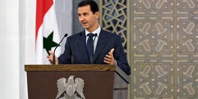 الرئيس الأسد: مستمرون في مكافحة وسحق الإرهابيين.. كل ما يرتبط بمصير ومستقبل سورية هو موضوع سوري مئة بالمئة ووحدة الأراضي السورية من البديهيات غير القابلة للحديث أو النقاش